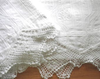 Fancy White Hand-Stitched Pillowcases, Gift Quality