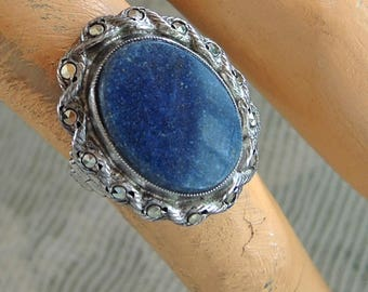 Sterling Silver, Marcasite And Sodalite Ring  Size 4 1/4 Hippie, Boho Ring