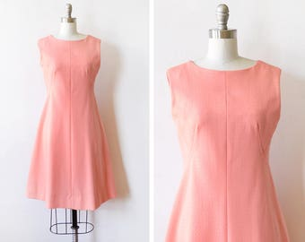 60s coral mod dress, vintage 1960s dress, textured mod scooter dress, medium large ml
