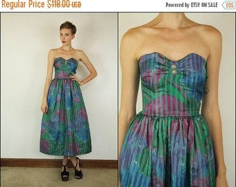 SUMMER SALE Vintage 80's Silk Party Metallic gold striped Sweetheart Flared Strapless Prom Green Watercolor Corset Flowy Midi dress XXS Xs