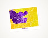 Cookeville Map Print.  Choose the colors and size. Tennessee Tech Golden Eagle Gift.