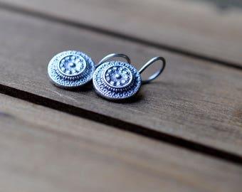 Sterling Silver Earrings, Sterling Silver Cast Earrings, Ornate Dangly Earrings - Izmir Earrings