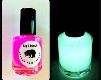Glow-in-the-Dark Nail Polish - Pink Glows Yellow - ASTEROID - Custom Blended Nail Polish - Regular Full Sized Bottle (15 ml size)