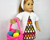 "Easter basket, 18"" doll bunny ears headband, 18 inch doll Easter basket, Easter eggs, 18 inch doll Easter accessories"