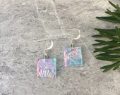 Coral Shimmer Dichroic Glass Earrings