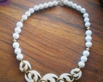 SALE Vintage Trifari White Beads Necklace