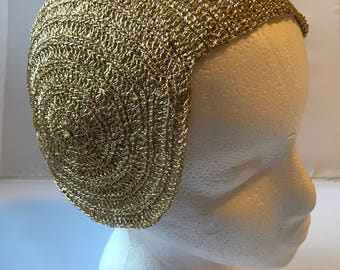 Gold Flapper Hat, Vintage Gold Flapper Hat, 1920s Style Hat, Ladies Vintage Cap in Gold Knit 1920s Art Deco Era Style
