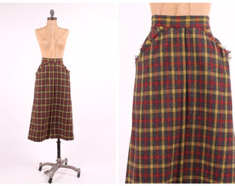 plaid wool high waist skirt 1950s bombshell frayed pocket preppy ladies vintage pinup fitted aline midi small XS