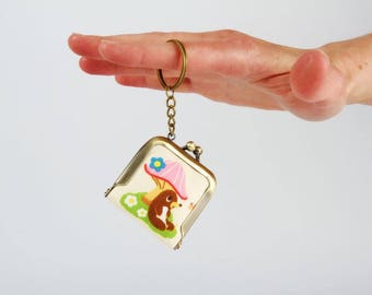 Keychain purse - Moles and mushrooms - Tiny purse / Metal frame coin purse / Kawaii japanese fabric / Pink red green brown turquoise