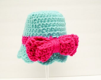 Pink Baby Girl Hats, Bow Beanie, Pink Baby Hat, Double Thick Bow Aruba & Pink