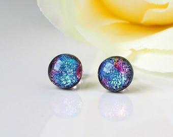 Blue Purple Pink Fused Glass Stud Earrings - Blue Glass Earrings - Pink Earrings for Women - Purple  Dichroic Glass Studs - ES 680