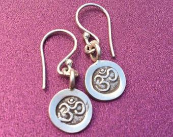 Om Stamped Fine Silver Earrings- Yoga Jewelry- Om Charm- Chakra