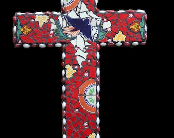 Mosaic Wall Cross Made with Talavera Tiles
