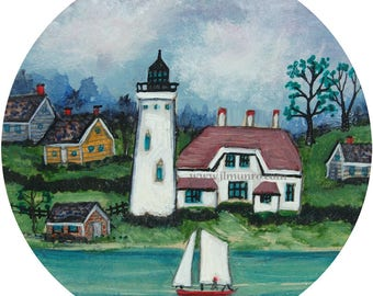 Sailors Valentine Center, ART for Designers Crafters ~ Sailing by the Light House ~ JL. Munro