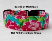Personalized Embroidered-Choose Buckle or Martingale Dog Collar-Hot Pink Floral-Lime Green-Small-Large Breed Dog-1 inch 1.5 -2 inch width