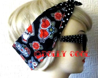 Tattoo Love Hair Tie Print Head Scarf by Dolly Cool Fully Reversible Black White Polka Dot Backing Exclusive Fabric Self Designed