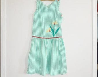 SALE // Vintage Green and White Striped Girl's Dress