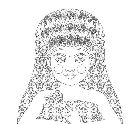 Balinese Dancer Matryoshka Coloring Sheet Printable file