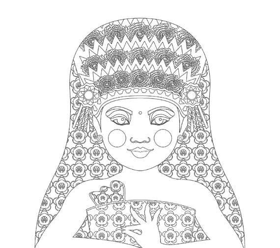 Balinese Dancer Doll Traditional Dress Coloring Sheet Printable