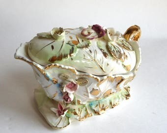 Vintage Capo di Monte Style Lidded Sauce Tureen - Green, Purple and Gold Hand-Painted Very Elaborate Tureen - Flowers, Scrolls, DISTRESSED