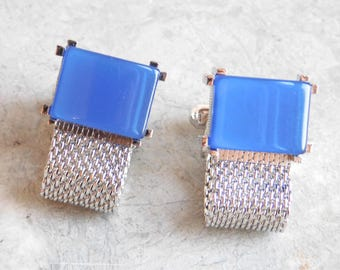 Vintage Swank Mid-Century Blue Moonglow Silvertone Cuff Links - Wrap-Around Mesh Cuff Link - Mod Men's Accessory - Men's Jewelry - Acrylic