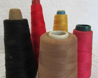 Vintage Thread on Cardboard Cones Lot of 5  textile thread Assorted Colors and Makers