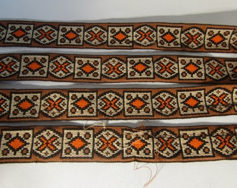 """Vintage Trim Woven Ribbon with Retro Design 1 7/8 yards x 1 1/2"""" wide not perfect"""