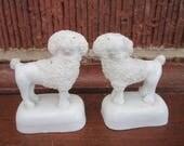 Antique 19c Staffordshire Pottery Miniature PAIR of Poodle Figures