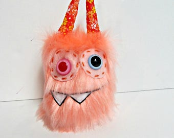 Mini Monster Plush - Handmade Minor Monster Plushie - Coral Pink Faux Fur - OOAK Monster - Small Monster Plush - Small Cute Monster Soft Toy