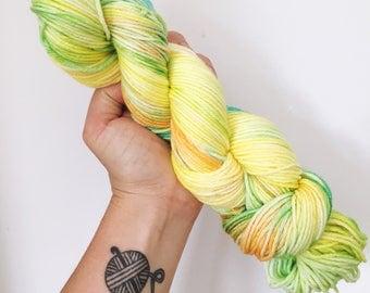 Pineapples - Hand dyed double knit yarn 100g/225m superwash merino, nylon blend
