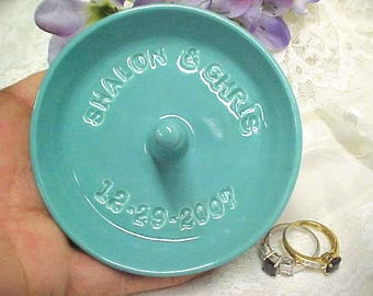 Pottery Ring Bowl, Personalized Jewelry Storage, Wedding Ring Holder, Engagement Dish, Gift for Bride Names, Custom Ring Dish, Made to Order