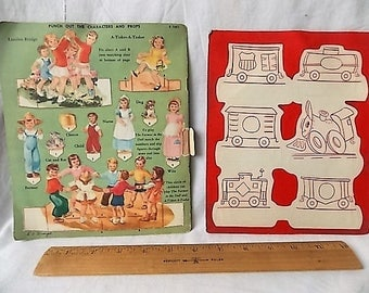 2 Children's Activity Records Cut Out Doll Coloring Story Punch Out Toy Little EngineThat Could Nursery