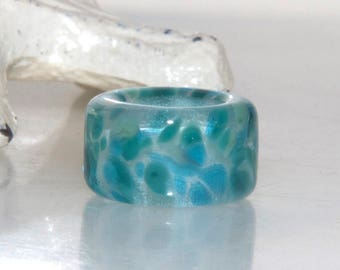 Speckled Ocean Teal Glass Dread Bead 10.5mm hole