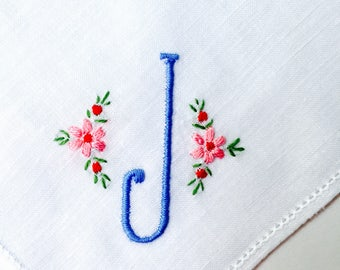 Vintage White Hanky with a Blue Initial J - Handkerchief Hankie