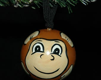 Monkey Ornament - Hand Painted- Personalized - Solid Wood
