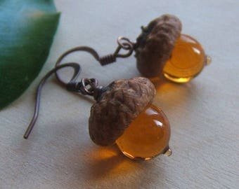 Glass Acorn Earrings in Transparent Topaz by Bullseyebeads