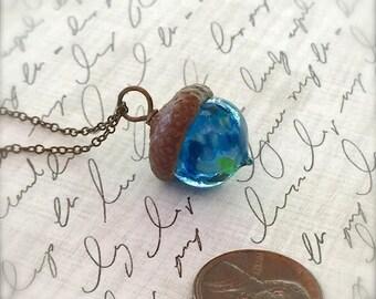 Glass Acorn Necklace - Dark Blue Sea - by Bullseyebeads - Ready To Ship
