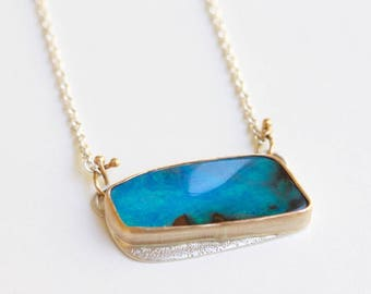 Boulder Opal Necklace One of a Kind Recycled 14k Gold and Sterling Silver Modern Boho Pendant Recycled Metal OOAK