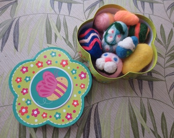 needle felted EASTER EGGS in sweet flower shaped box perfect for out of season storage and great seasonal presentation