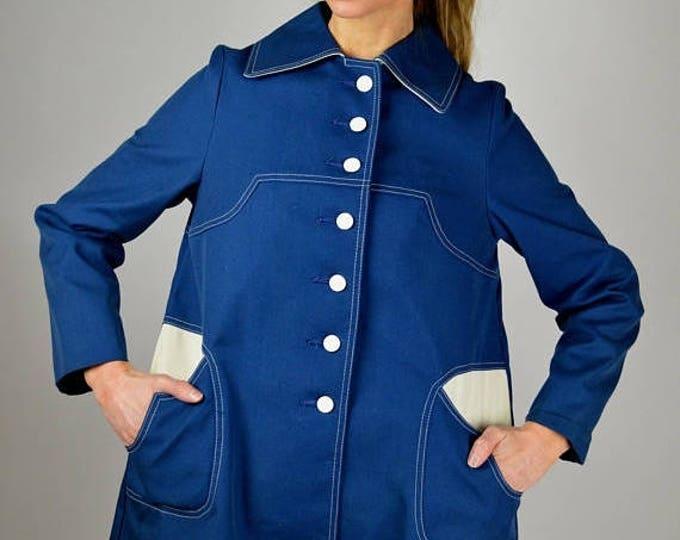 sale Vintage Jacket, 60s Jacket, Blue Jacket, Rain Jacket, Rain Coat, Mod Jacket, Mid Century Jacket, 1960s Jacket, Blue White, Spring Jacke