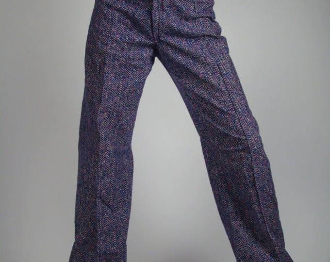 sale Purple Pants, Vintage Bell Bottoms, 60s Vintage Pants, High Waist Pants, Herringbone Pattern, Wool Pants, Disco pants, Cuffed Pants,