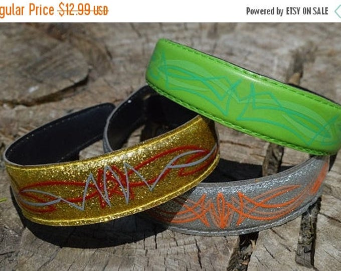 sale Green Headband, Pinstripe Headband, Rockabilly Headband, Pin Up Headband. Rocker Headband, Hand Painted Headband