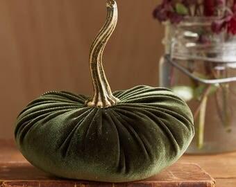Scented Velvet Pumpkin, OLIVE GREEN