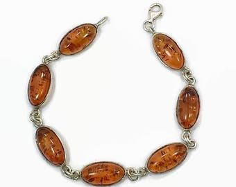 Amber Bracelet, Honey Amber, Sterling Silver, Vintage Bracelet, Links Linked, Vintage Jewelry, 925, Oval Stones, Amber Linked, Vintage