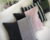 Hand woven throw pillow cover red white and black