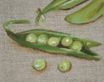 peas in a pod tiny painting still life vegetables 4 X 4  inch kitchen decor