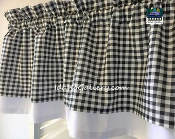 Curtain Black White Check Gingham Double Layered Kitchen Curtain Valance