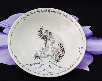 Couple on a Bridge Wedding Bowl