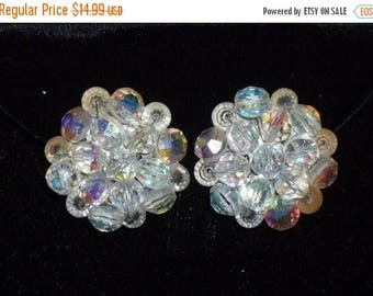 SUMMER SALE Vintage Aurora Borealis AB Rhinestone Clip on Earrings