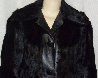 SUMMER SALE Vintage BOHO Broadtail Lamb Fur Leather Jacket Coat Small Medium Womens Fur Genuine